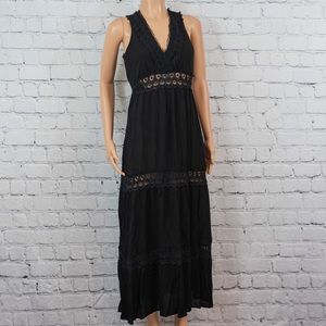 Black crochet inset maxi dress